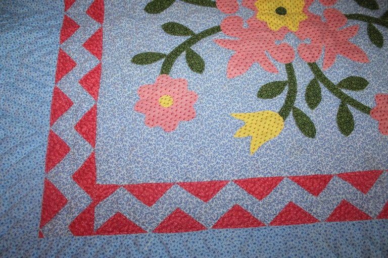 Hand-Crafted Antique 19th Century Crib Quilt Applique from Berks County Pennsylvania For Sale