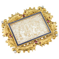 Antique French Chinoiserie 18 Karat Gold, Gem-Set and Enamel Brooch, circa 1890