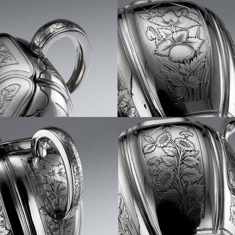 Antique 19th Century French Solid Silver Five Piece Tea Service Odiot circa 1880 For Sale 8