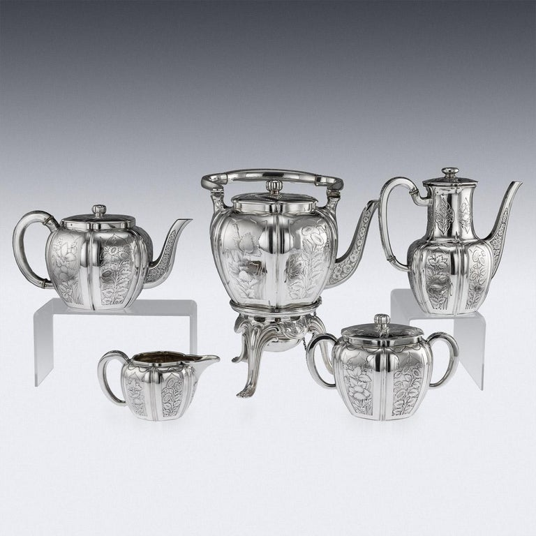Antique 19th Century French Solid Silver Five Piece Tea Service Odiot circa 1880 In Good Condition For Sale In London, London