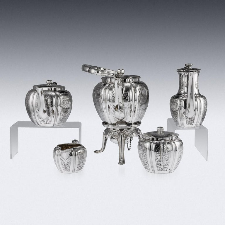 Antique 19th Century French Solid Silver Five Piece Tea Service Odiot circa 1880 For Sale 1