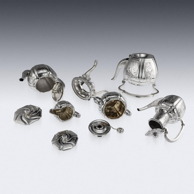 Antique 19th Century French Solid Silver Five Piece Tea Service Odiot circa 1880 For Sale 3