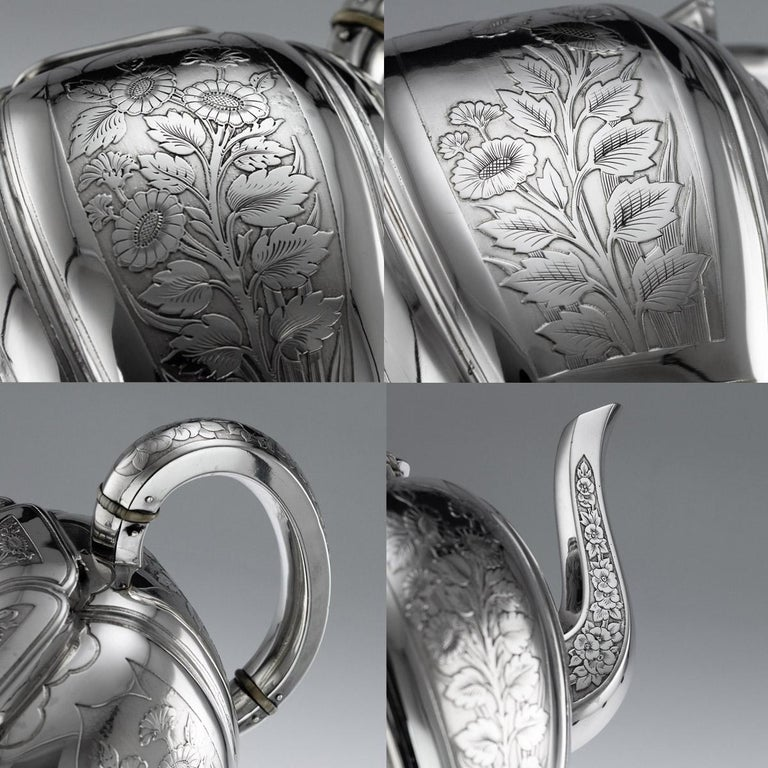 Antique 19th Century French Solid Silver Five Piece Tea Service Odiot circa 1880 For Sale 5