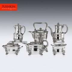 Antique 19th Century French Solid Silver Five-Piece Tea Service Odiot circa 1880