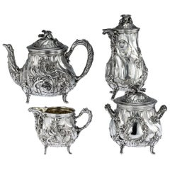 19th Century French Solid Silver Four Piece Tea and Coffee Service, circa 1886