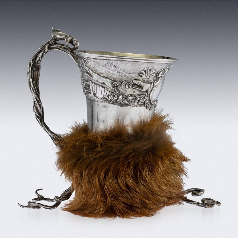 English Antique Georgian Solid Silver Fox Stirrup Cup, Reily & Storer, circa 1832 For Sale