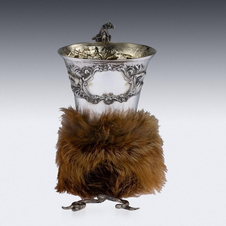 Antique Georgian Solid Silver Fox Stirrup Cup, Reily & Storer, circa 1832 In Good Condition For Sale In London, London