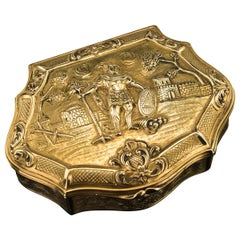 Antique German 18-Karat Solid Gold Decorative Snuff Box, Hanau, circa 1840