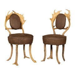 Antique German Pair of Hall Antler Horn Chairs, Black Forest, circa 1880
