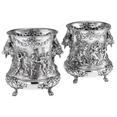 19th Century German Solid Silver Wine Coolers, Georg Roth, Hanau, circa 1890