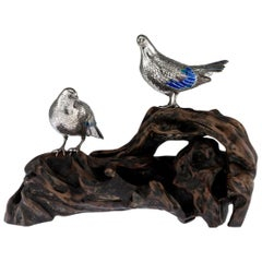 Antique Japanese Solid Silver and Enamel Models of Pigeons on Stand, Circa 1890