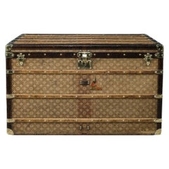 Antique 19thc Louis Vuitton Extra Large Trunk in Woven Canvas Finish Circa 1895