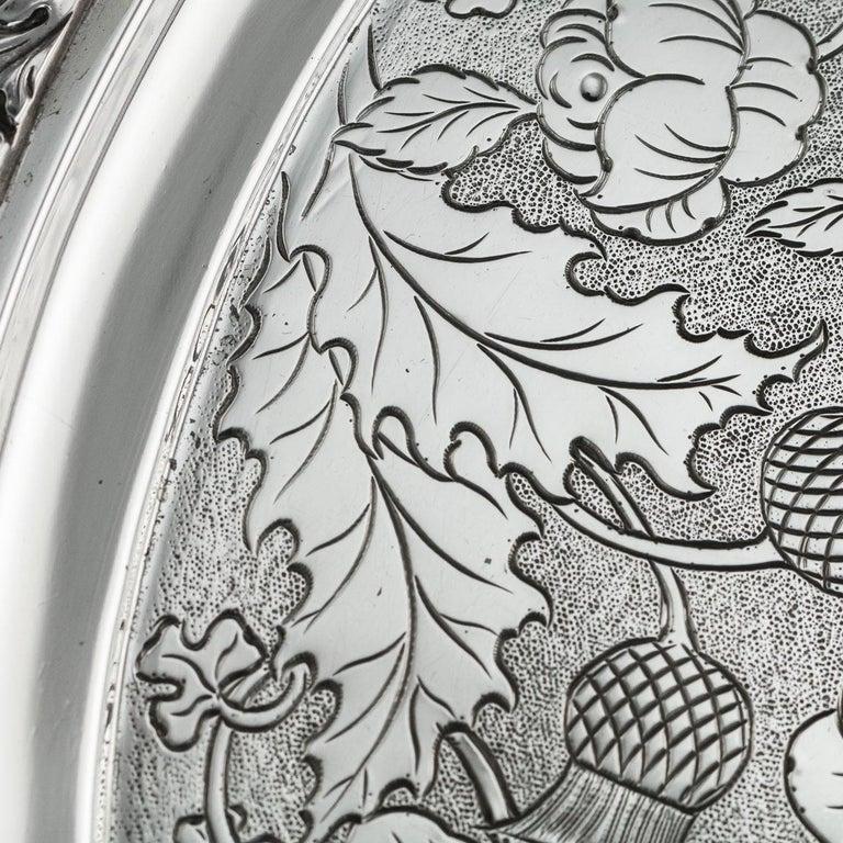 19th Century Scottish Solid Silver Salver, George McHattie, Edinburgh For Sale 2