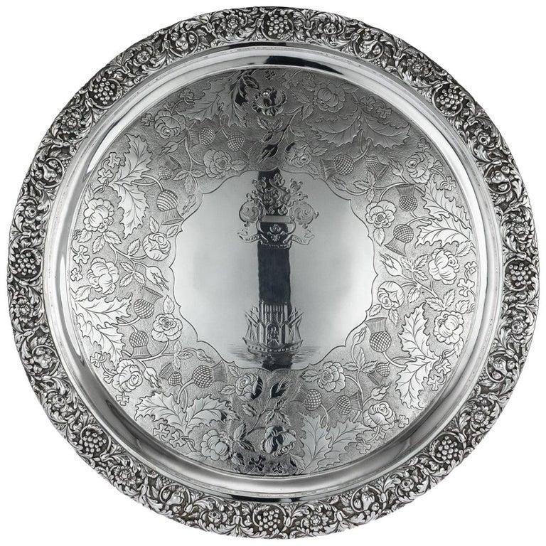 19th Century Scottish Solid Silver Salver, George McHattie, Edinburgh For Sale