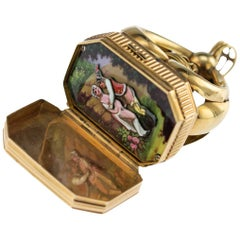 Antique Swiss 18-Karat Gold, Enamel Musical Automaton Erotic Seal, circa 1840