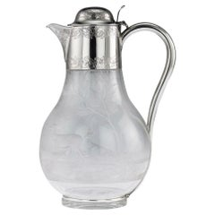 Antique 19th Century Victorian Solid Silver & Etched Glass Claret Jug circa 1887