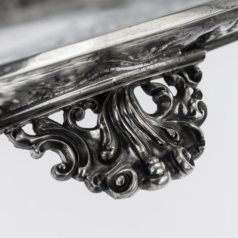 19th Century Victorian Solid Silver Salver, Hunt & Roskell, London, circa 1873 For Sale 5