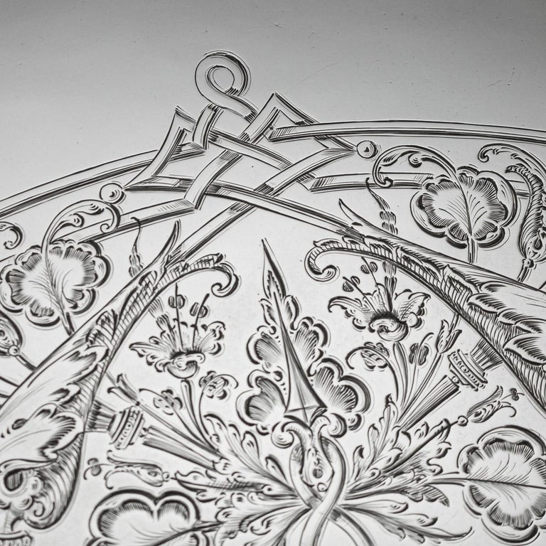 19th Century Victorian Solid Silver Salver, Hunt & Roskell, London, circa 1873 For Sale 2