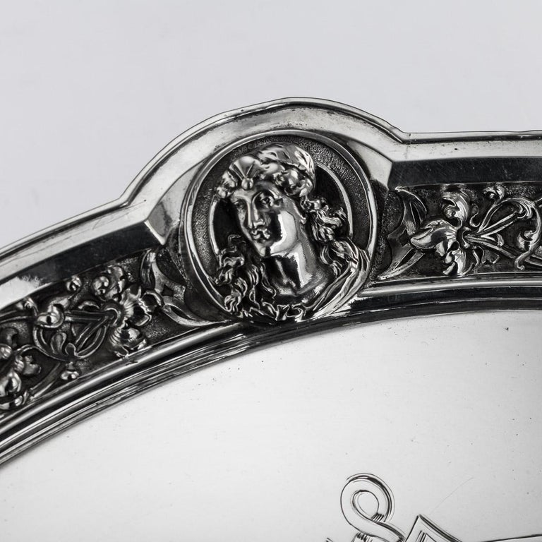 19th Century Victorian Solid Silver Salver, Hunt & Roskell, London, circa 1873 For Sale 3