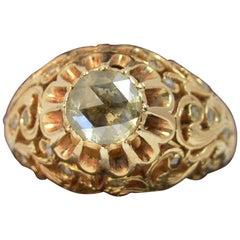 Antique 1 Carat Rose Cut Diamond and 18 Carat Rose Gold Pierced Floral Ring