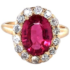 Antique 2 Carat Ruby and 0.65 Carat Old European Diamond Ring, circa Early 1900
