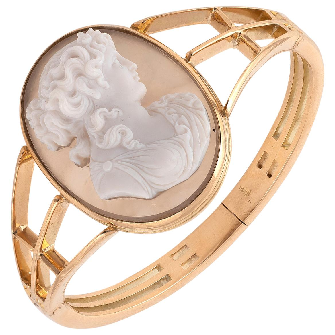 Antique 2-Layer Agate Cameo Bangle Bracelet, Late 19th Century