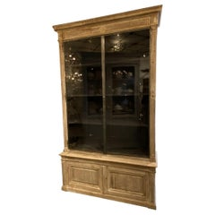 Antique 2-Piece French Display Cabinet, Wood and Vitrine