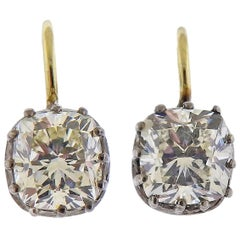 Antique 2.02 Carat Old Mine Diamond Gold Earrings