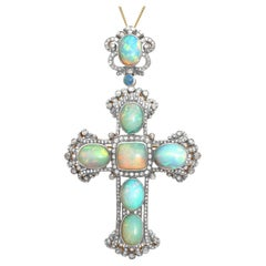 Antique 20.34 Carat Opal and 4.63 Carat Diamond Silver Gilt Cross Pendant Brooch