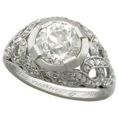Antique 2.05 Carat Diamond and Platinum Cocktail Ring