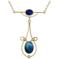 Antique 2.07 Carat Black Opal Pearl Gold Necklace