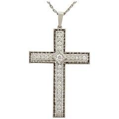 Antique 2.07 Carat Diamond and Platinum Cross Pendant