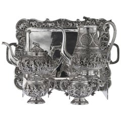 Antique 20th Century Burmese Solid Silver Tea and Coffee Set on Tray, circa 1920