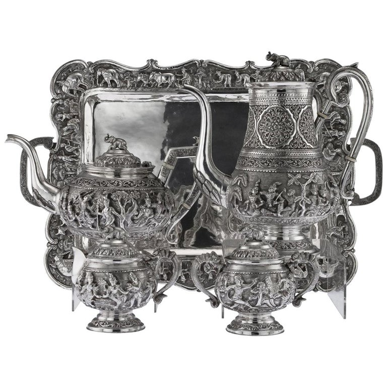 Top 20 Tea Platters: Antique 20th Century Burmese Solid Silver Tea And Coffee