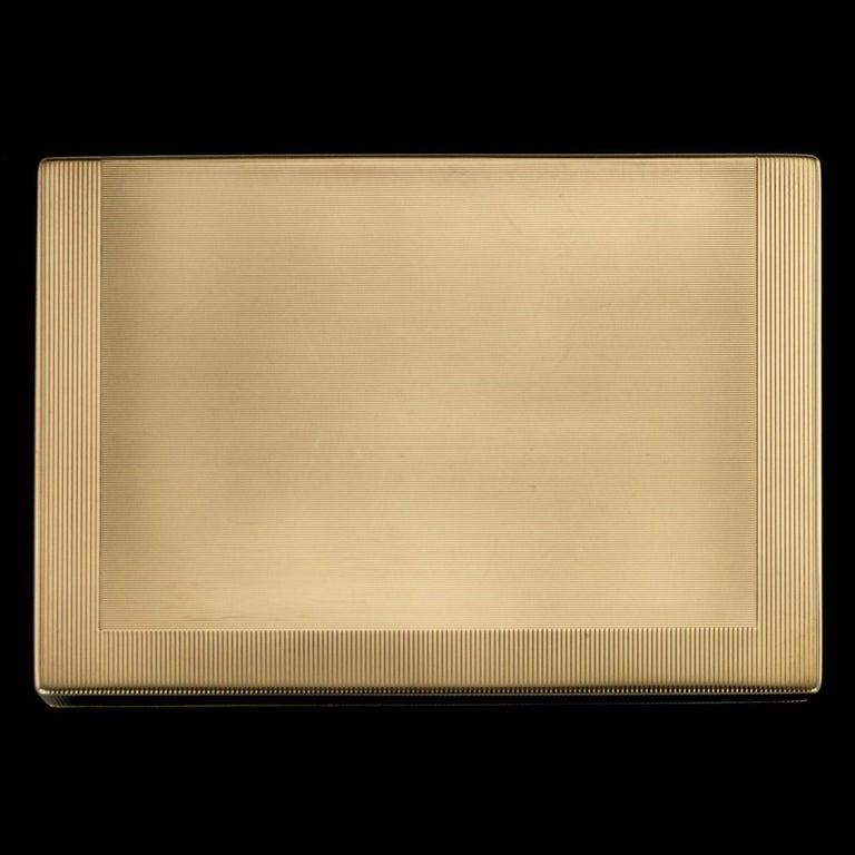 English Antique 20th Century Cartier Art Deco 9-Karat Gold, Sapphires, Diamonds, Compact For Sale