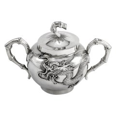 Antique 20th Century Chinese Export Solid Silver Sugar Bowl