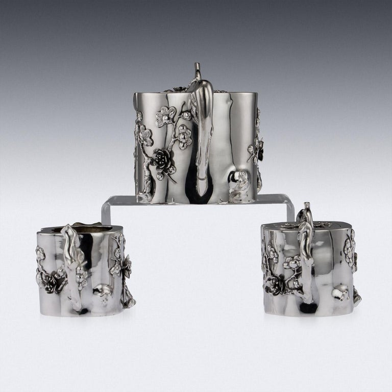 Top 20 Tea Platters: Antique 20th Century Chinese Export Solid Silver Three