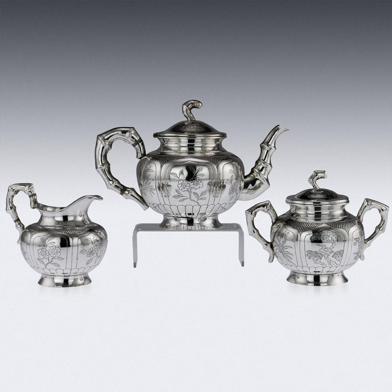 Top 20 Tea Platters: Antique 20th Century Chinese Solid Silver 3-Piece Tea Set