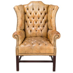 Antique 20th Century Edwardian Button-Down Leather Armchair, circa 1910