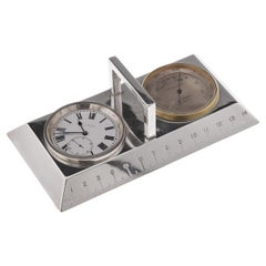 Antique 20th Century English Solid Silver Clock, Ruler & Thermometer c.1912