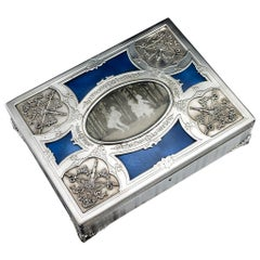 Antique 20th Century French Empire Style Silver and Enamel Casket, circa 1900