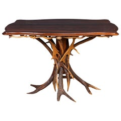 Antique 20th Century German Antler Horn Dining Table, Black Forest, circa 1930