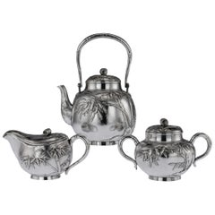 Antique 20th Century Japanese Meiji Solid Silver Three Piece Tea Set, circa 1900