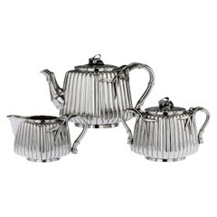 Antique 20th Century Japanese Meiji Solid Silver Three-Piece Tea Set, Murakami