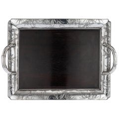 Antique 20th Century Japanese Solid Silver and Wood Serving Tray, circa 1900