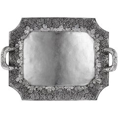 20th Century Japanese Solid Silver Large Serving Tray by Konoike, circa 1900