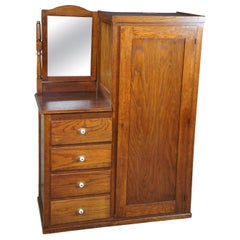 Antique 20th Century Oak Chifforobe Wardrobe Vanity Dresser Hanging Closet