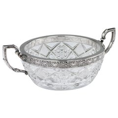 Antique 20th Century Russian Silver-Mounted Cut Glass Bowl, 15 Artel, circa 1910
