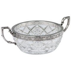 Antique 20th Century Russian Silver-Mounted Cut Glass Bowl, 15 Artel, circa 1910