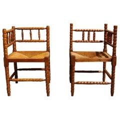 Antique 20th Century Set of French Arts & Crafts Bobbin Corner Chairs